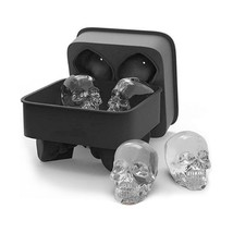 New Ice Cube Maker Skull Shape 3D Mold Bar Party Silicone Mould Gift Tra... - $6.05+