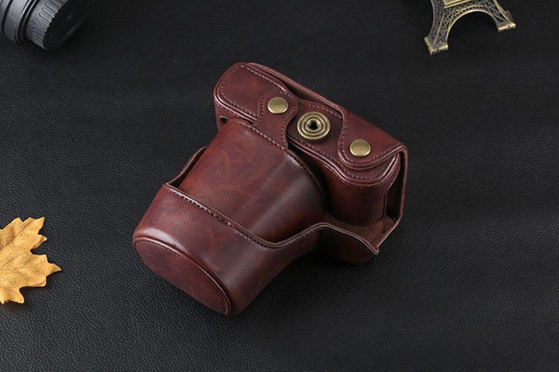 PU Digital Camera Bag Leather Case Cover Canon EOS M3 M10 M6 M2 15-45/18-55mm