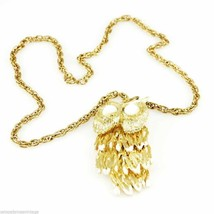 Vintage  Reticulated  Owl Necklace Gold Tone 1970S Large - $21.84