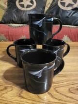 "Mikasa Galleria Opus Black Calla Lily FK701 Japan 3.5"" Coffee Mugs - Set... - $29.65"