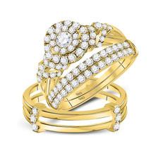 14kt Yellow Gold His & Her Round Diamond Matching Bridal Wedding Ring Set 1-1/2 - $1,958.00