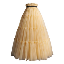 YELLOW Tiered Long Tulle Skirt Outfit High Waist Plus Size Princess Party Outfit image 1