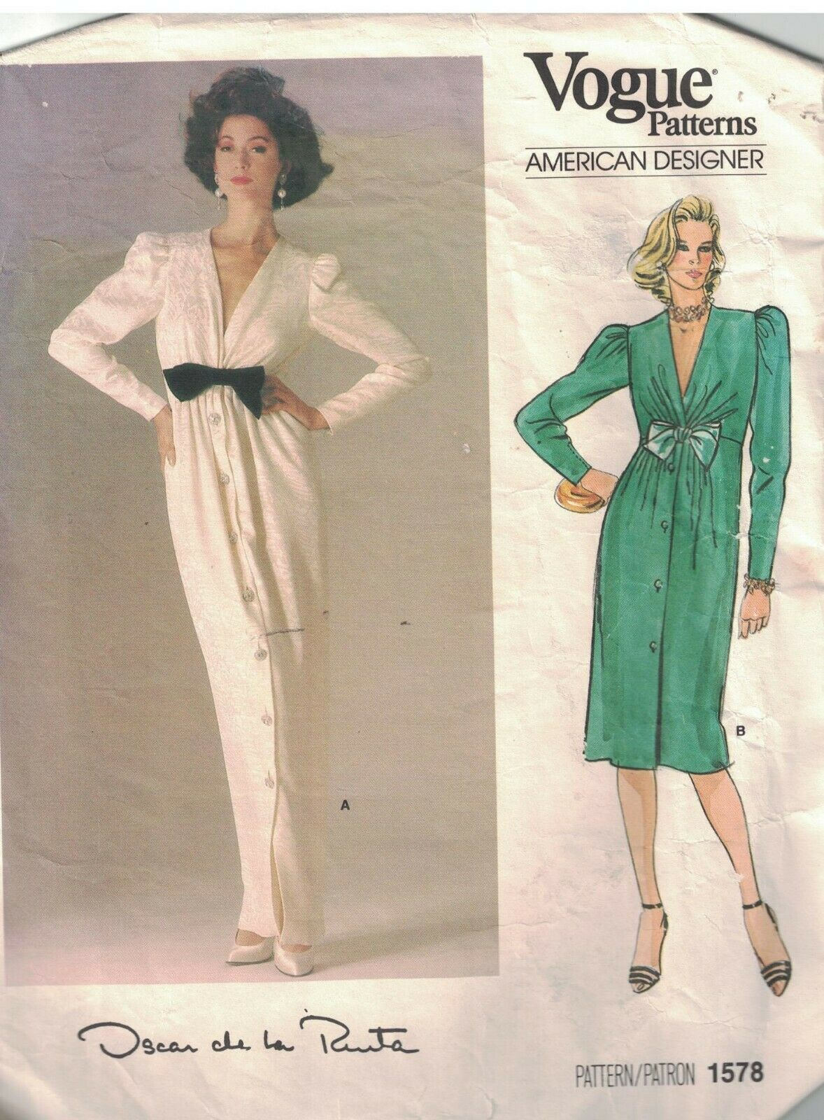 1578 Vogue Patrón de Costura Misses Suelto Ajuste Recto Vestido Oscar la Renta