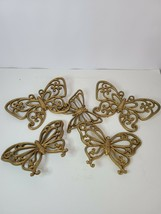 Set of 5 Homco Plastic Butterfly Wall Hanging Gold Painted Modern Home D... - $25.99