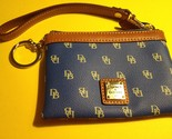 DOONEY & BOURKE Signature Blue and Tan Leather Trim WRISTLET with Key Ring
