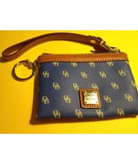 DOONEY & BOURKE Signature Blue and Tan Leather Trim WRISTLET with Key Ring  - $25.00