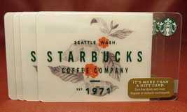 Lot of 6 Starbucks, 2017 SEATTLE WASH. EST. 1971 Gift Cards New with Tags - $18.90