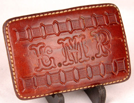 Leather Belt Buckle-Hand Tooled-Handmade-L.M.P. Initials-Vtg Western - $70.11