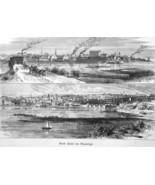 ROCK ISLAND Illinois Davenport Iowa Mississippi River - 1883 German Print - $14.40