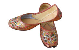Women Shoes Mojari Indian Handmade Brown Leather Flip-Flops Jutties US 6  - £20.43 GBP