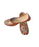 Women Shoes Mojari Indian Handmade Brown Leather Flip-Flops Jutties US 6  - $24.99