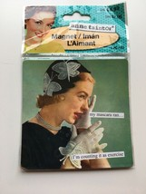Anne Taintor Square Refrigerator Magnet, My Mascara Ran...Exercise - $5.60