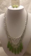 Fashion Silver Tone Necklace Green Beads Three Strand Bib With Earrings - $9.99