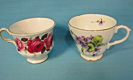 2 Tea Cups Queen Anne Roses & Duchess Violets English Bone China Pink White - $24.95