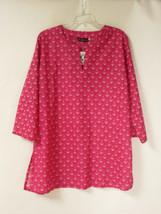 Nautical Anchor Sheer Tunic Shirt Beach Coverup Hot Pink Size Large - $18.95