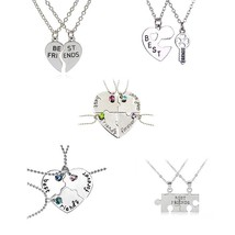 Best Friends 2 or 3 Pcs/Set Heart Necklace Fashion Personality Key Lock ... - $8.77