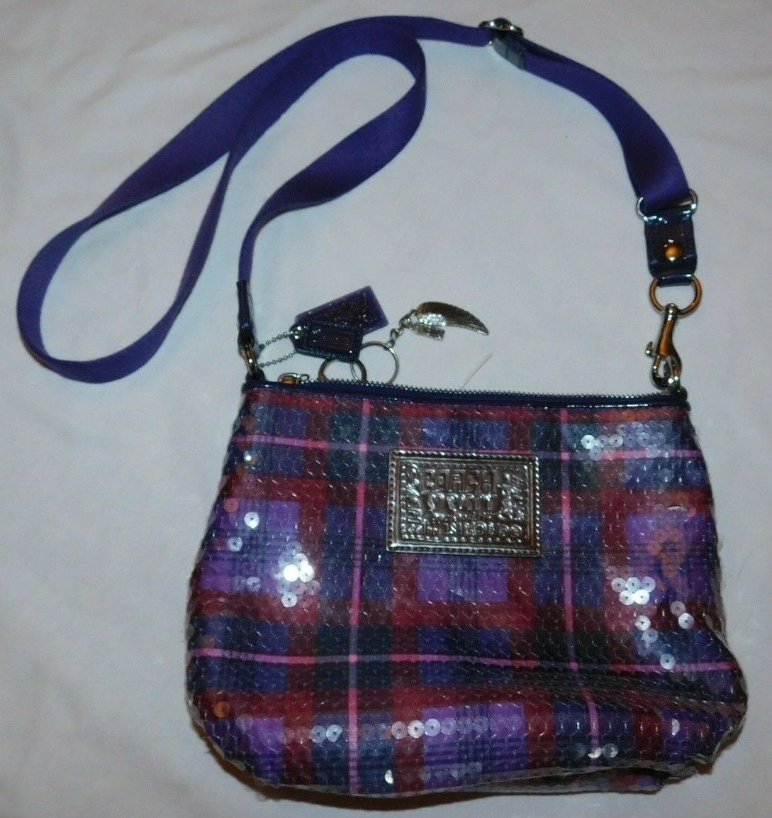Coach Poppy Purple Plaid Sequins Cross Body Bag