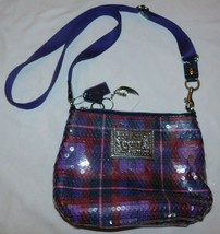 Coach Poppy Purple Plaid Sequins Cross Body Bag - $50.00