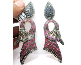 Gorgeous Victorian Inspr. 1.11Ctw Rose Cut Diamond Antique Earrings - $353.25