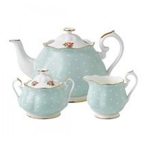 Royal Albert Polka Rose 3Pc Tea Set TEA POT, SUGAR , CREAMER NEW IN THE ... - $115.93
