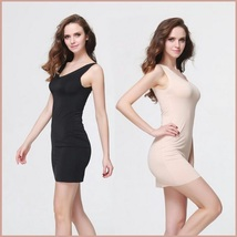 Black or Nude V Neck Soft Chiffon Sheath Mini Length Slip For Transparent Gowns