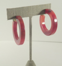 marbled brown Bakelite hoop clip-on earrings 814 - $14.00