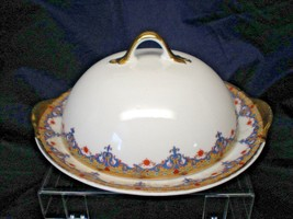 Antique Vignaud Limoges France China Cheese Butter Covered Dish Blue Red... - $60.43