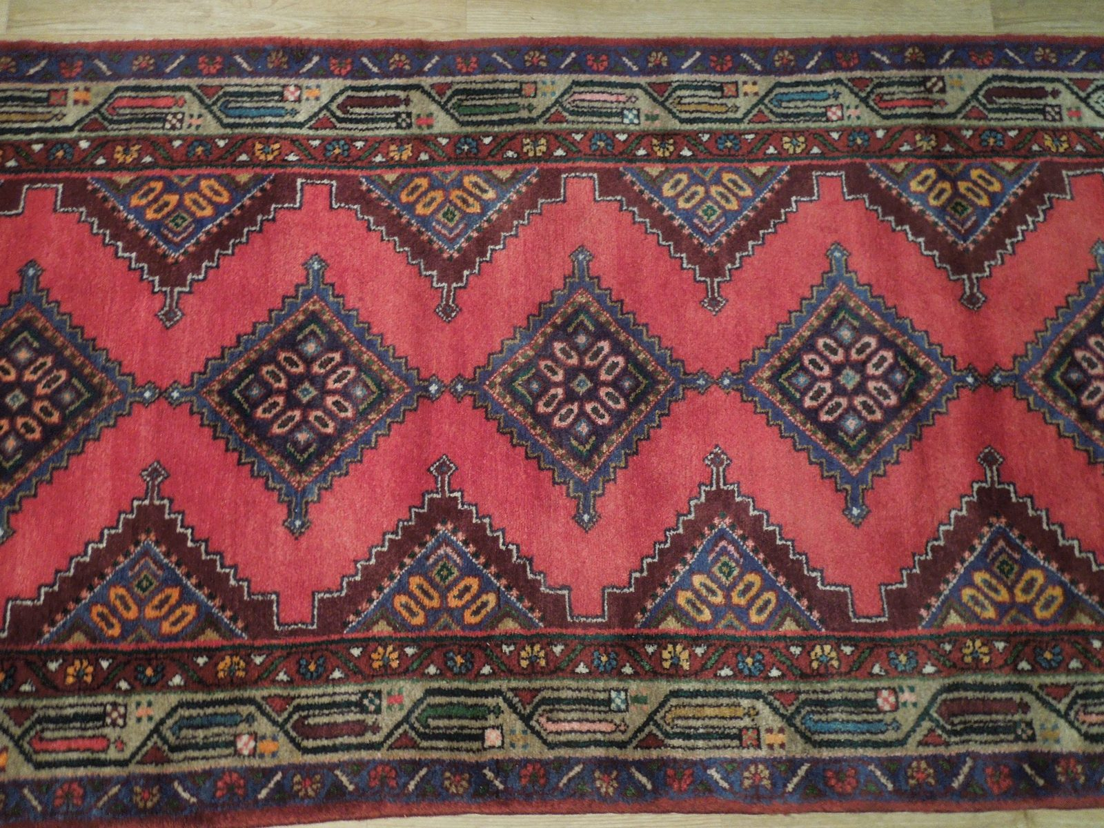 Pink Hamadan Persian Wool Handmade Rug 3x9 All-Over Geometric Rug image 6