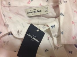 Abercrombie Kids Girl Shirt  Sz 16 Chiffon Flannel Butterfly Print Off White New image 4