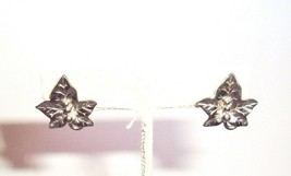 Small Silver tone Leaf Vintage pierced post Earrings jewelry gifts for her - $4.92