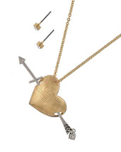 Heart Arrow Charm Pendant Rhinestone Fashion Necklace - £14.51 GBP