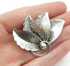 DANECRAFT 925 Silver - Vintage Shiny Etched Modernist Leaves Brooch Pin - BP4634 - $35.08