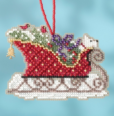 Evergreen Sleigh 2017 Charmed Sleigh Ride Ornaments cross stitch kit  Mill Hil