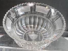 Urn and flame Hand Cut Glass bowl abp Paipoint - $232.47