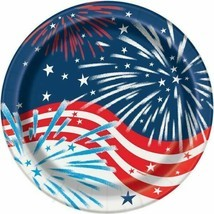 "Fireworks July 4th 8 Ct 9"" Lunch Plates Memorial Veterans Day - $3.65"