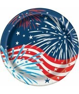 "Fireworks July 4th 8 Ct 9"" Lunch Plates Memorial Veterans Day - £2.59 GBP"