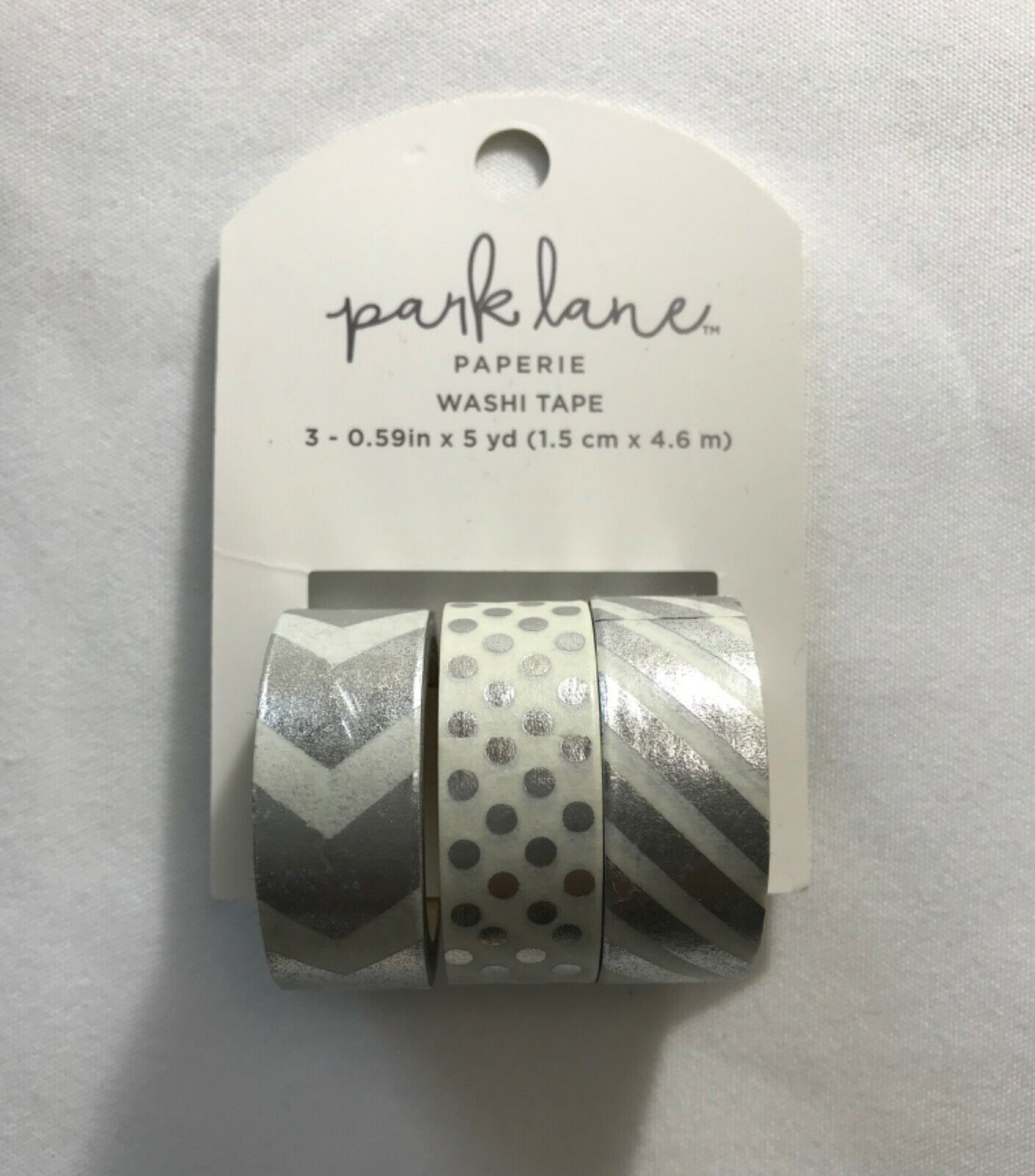 Primary image for Park Lane Paperie Washi Tape 3 Rolls (3 Silver Foil rolls w/different design)