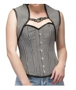 Black White Dotted Polyester Halloween Costume Bustier Overbust Top & Wi... - $69.29+