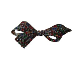 Vintage Bow Shaped Rhinestone Bling Brooch Pin Costume RL-163 - $34.64