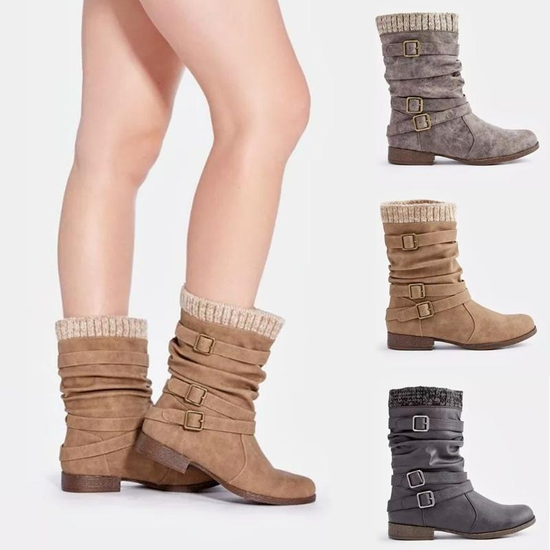 Autumn Winter New Women Schoolgirl Fashion Casual Boots Breasted Flat Boots Sued