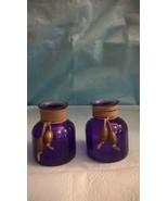 TWO 3 1/2 IN DECORATIVE GLASS BOTTLES VASES INCENSE HOLDER PURPLE - $22.76
