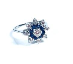 Diamond Sapphire Ring Flower 14k Gold 3.60 gr  0.65 ct H/SI1  AGI Certified - £1,298.06 GBP