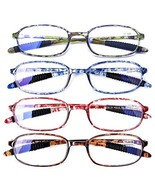 AQWANO 4 Pack Computer Reading Glasses Blue Light Blocking Lightweight T... - $32.42