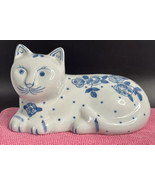 Porcelain White and Blue Rose Cat Figurine - $14.80