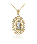 10K Two-Tone Yellow and White Gold Lady Of Guadalupe Diamond Pendant Nec... - $149.99+