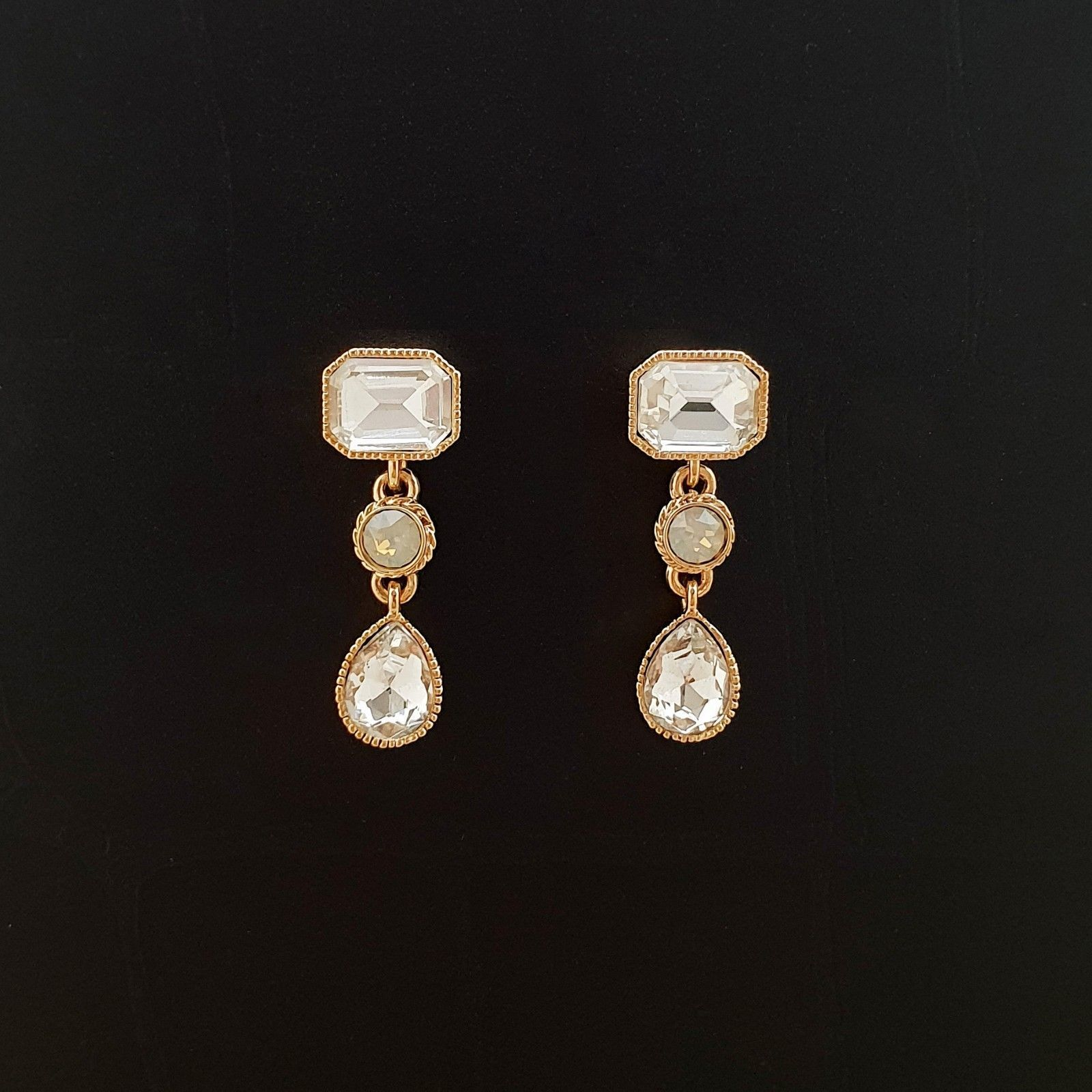 Rectangle Round Water Drop Made With Swarovski Stone Dangle Earrings 925 Silver  image 2