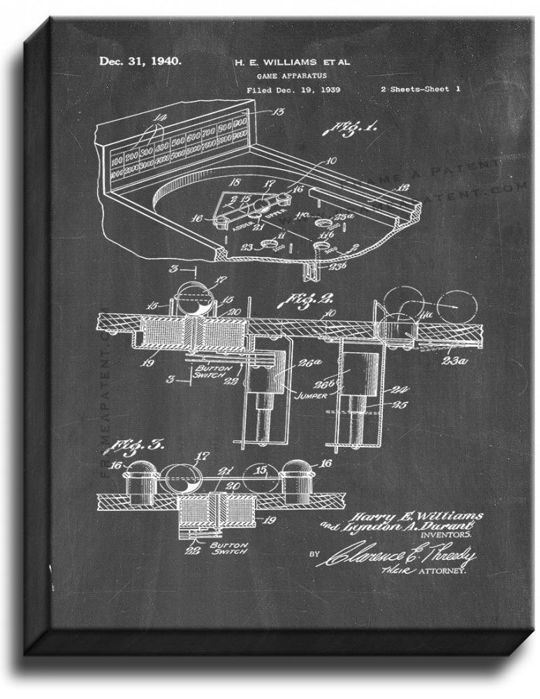 Primary image for Game Apparatus Patent Print Chalkboard on Canvas