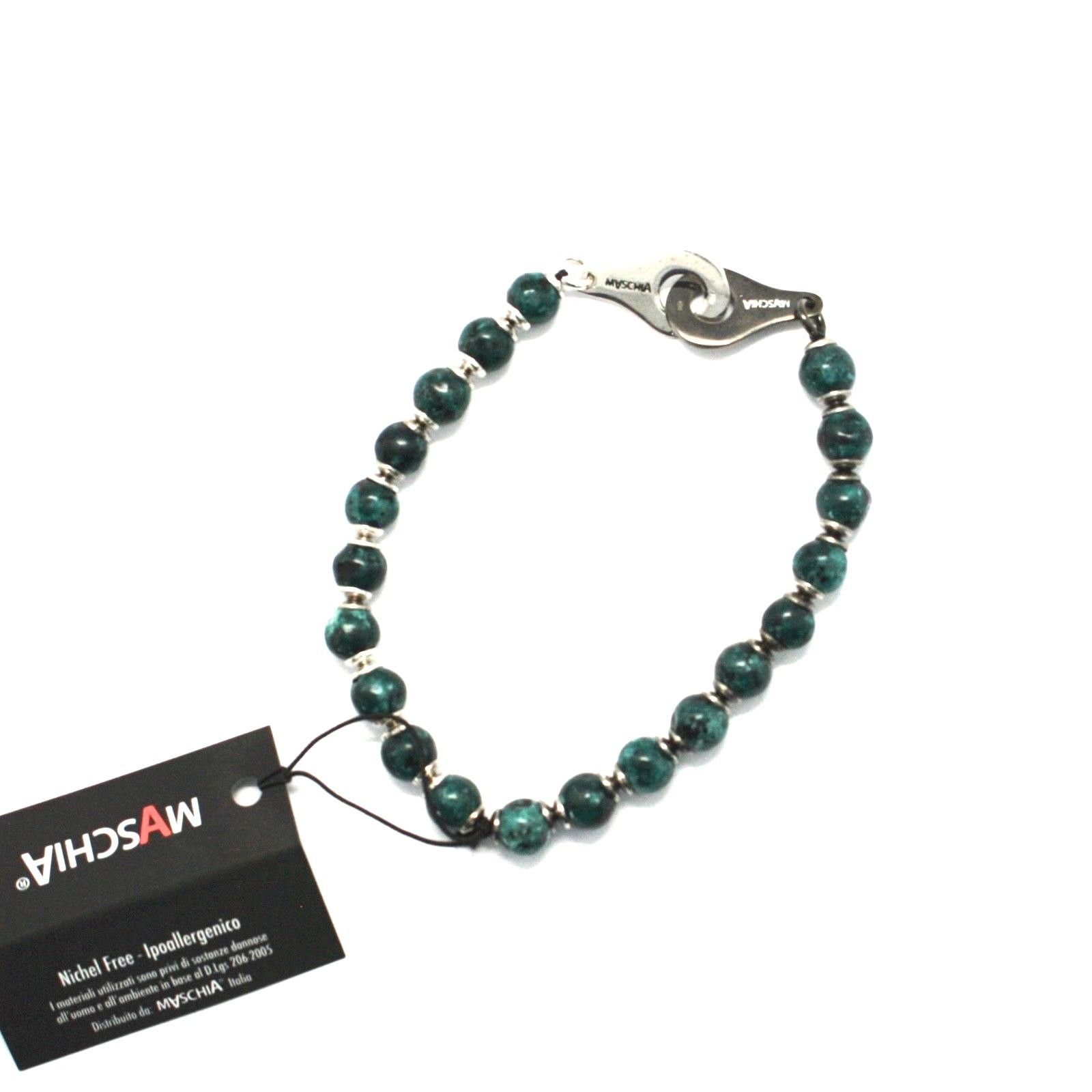 SILVER 925 BRACELET WITH JASPER GREEN BSP-2 MADE IN ITALY BY MASCHIA