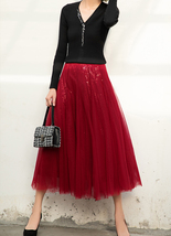 Wine Red Long Tulle Sequin Skirt High Waisted Red Christmas Holiday Skirt Outfit image 4