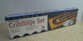 Cardinal Industries Deluxe Solid Wood Folding Cribbage Board Set Sealed 1997 New - $14.50